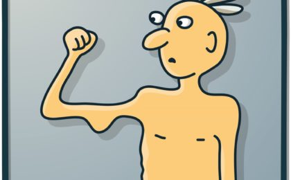 Illustration of man with weak muscles