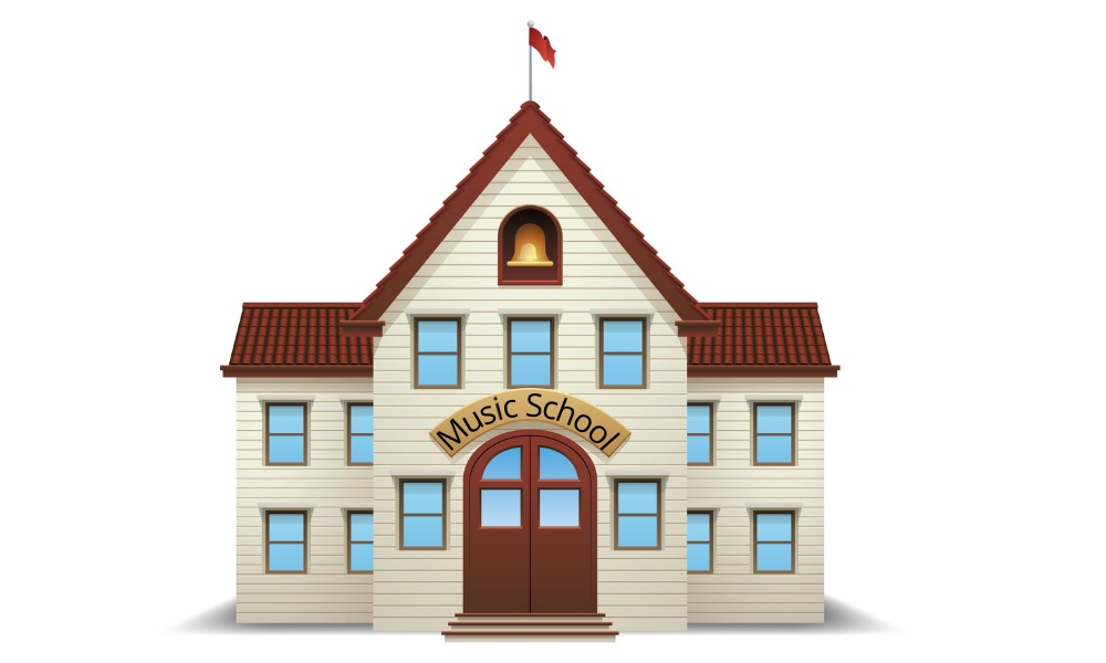 Illustration of a music school building