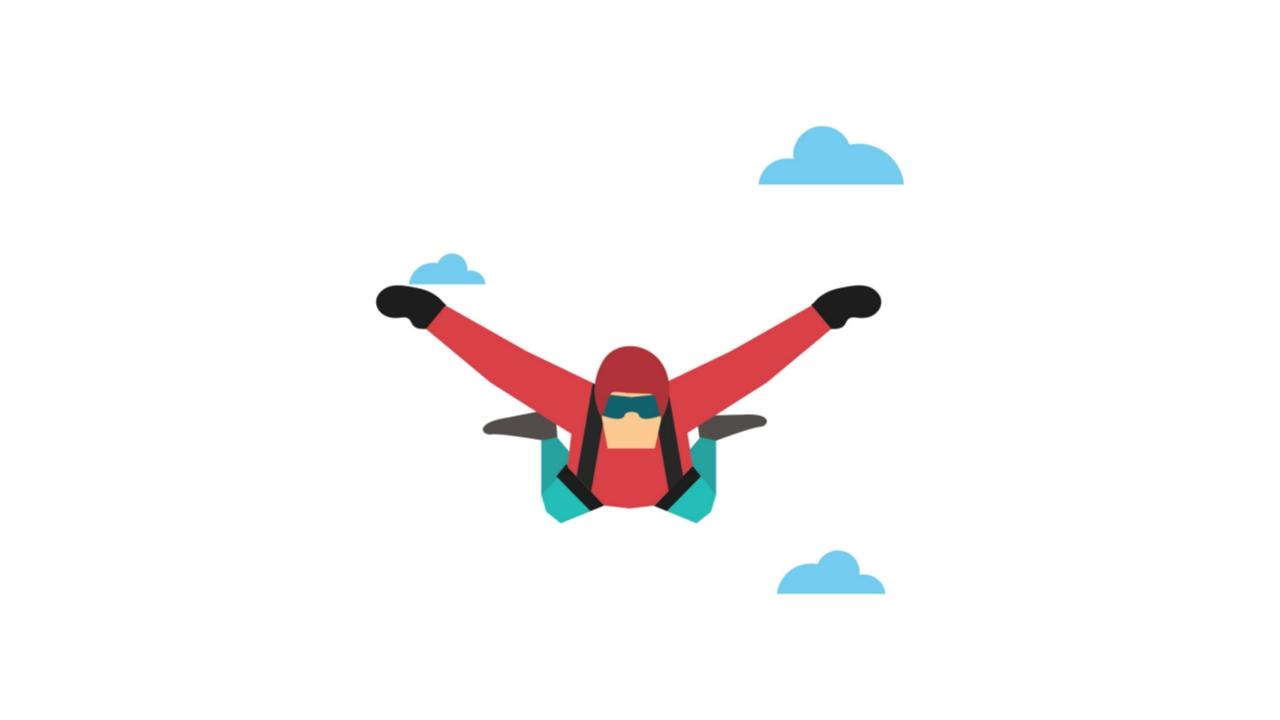 man fly high