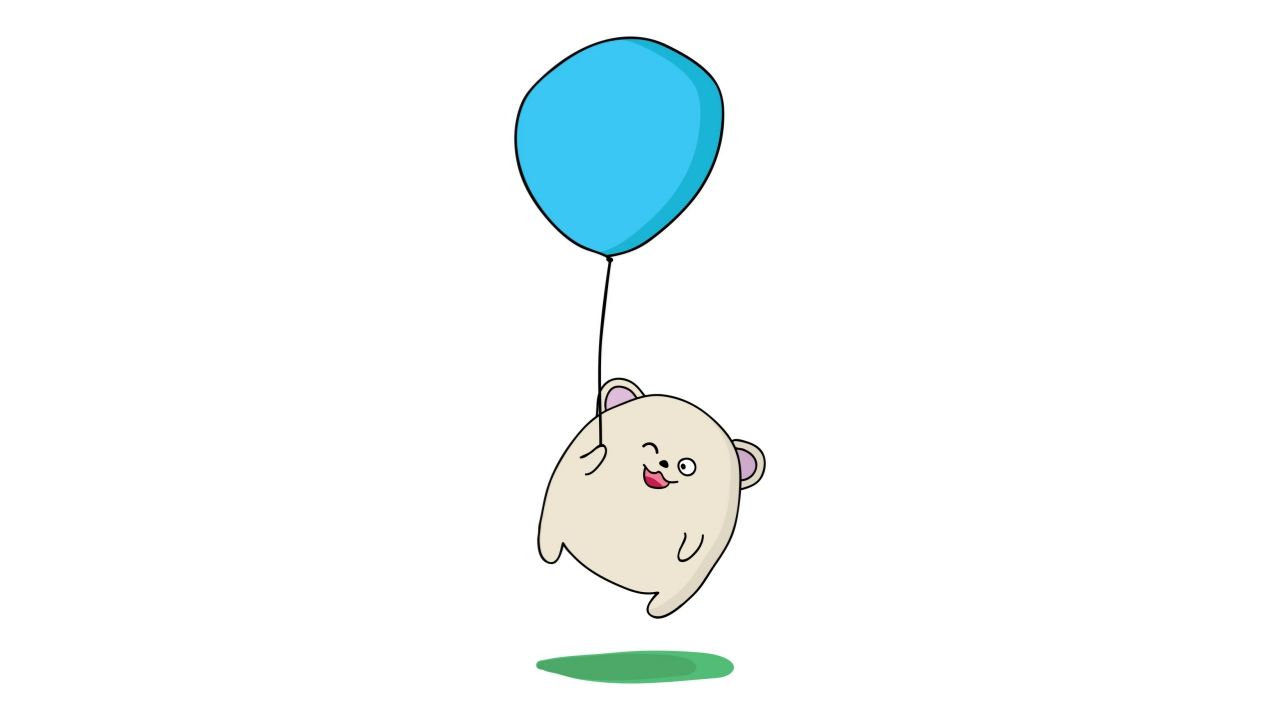 Illustration of a bear being lifted off the ground while holding a balloon