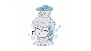 Illustration of owman singing in the shower