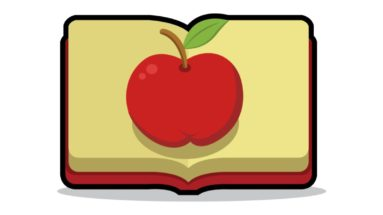 apple and text book illustration
