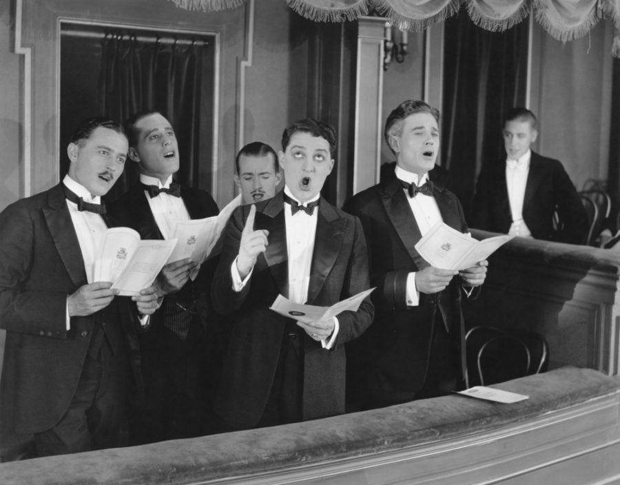 men singing in a choir